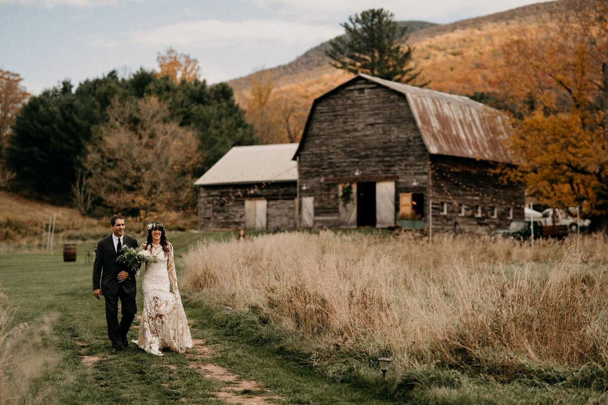 Bride down the aisle Hayfield Catskills Wedding Barn Wedding Catskills Wedding Planner Canvas Weddings
