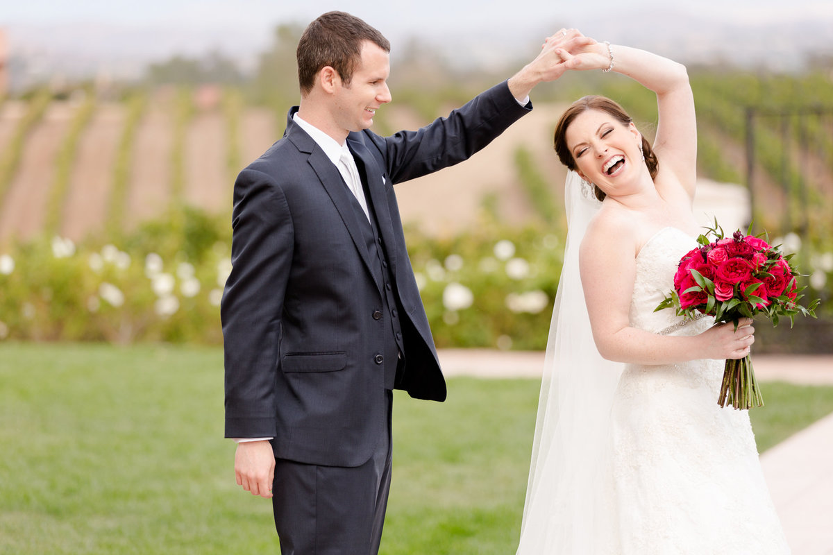 Bride and groom dance with excitement after their fall wedding at villa de amore by matty fran photography