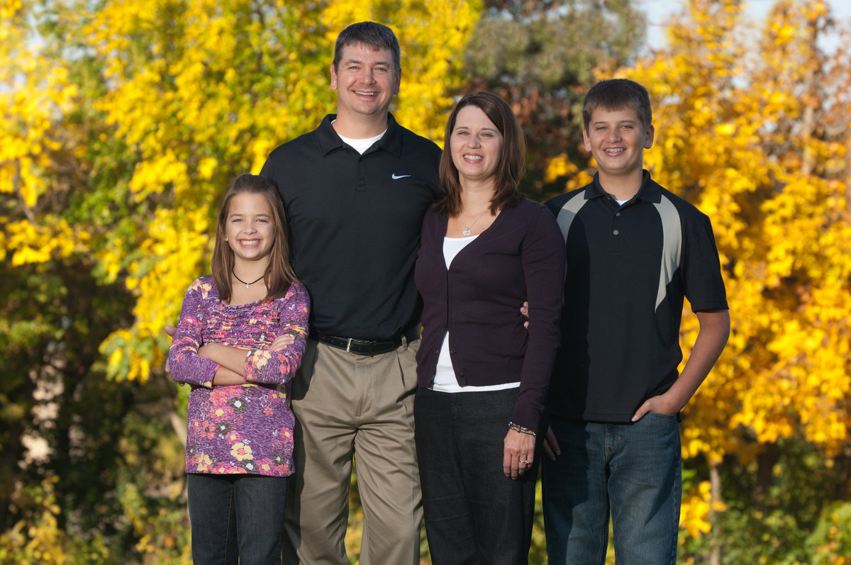 Vibrant yellow foliage with a family portrait