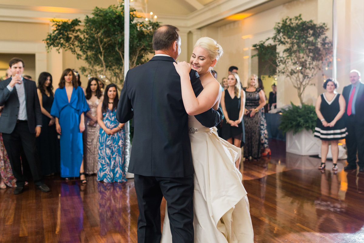 This father daughter dance was beautiful and emotional. Photo by luxury destination wedding photographer Rebecca Cerasani.