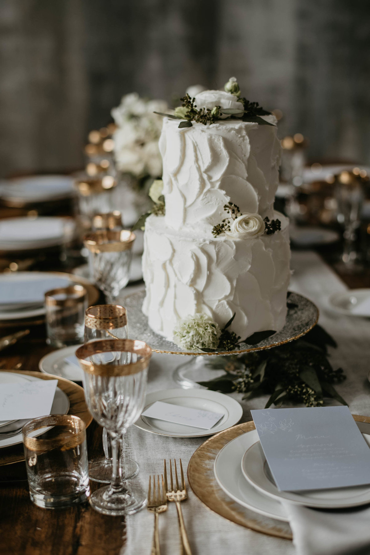 buttercream two layer rustic wedding cake for elegant wedding
