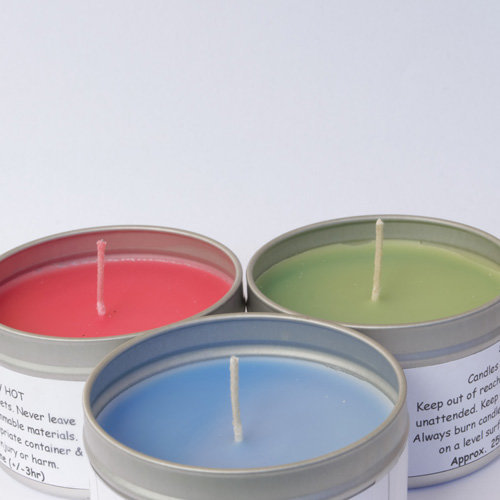 coloured tin soy candles