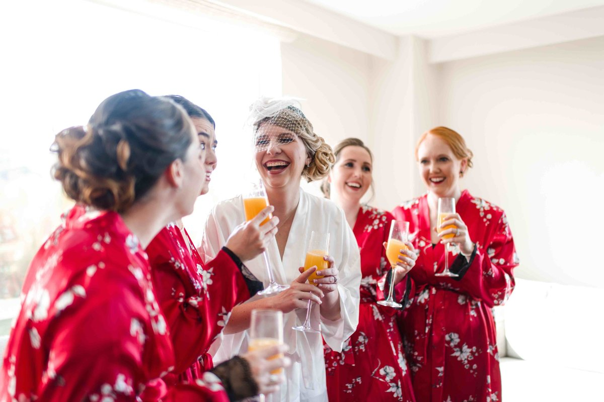 03 Bride with bridesmaids in matching robes at Connecticut Wedding