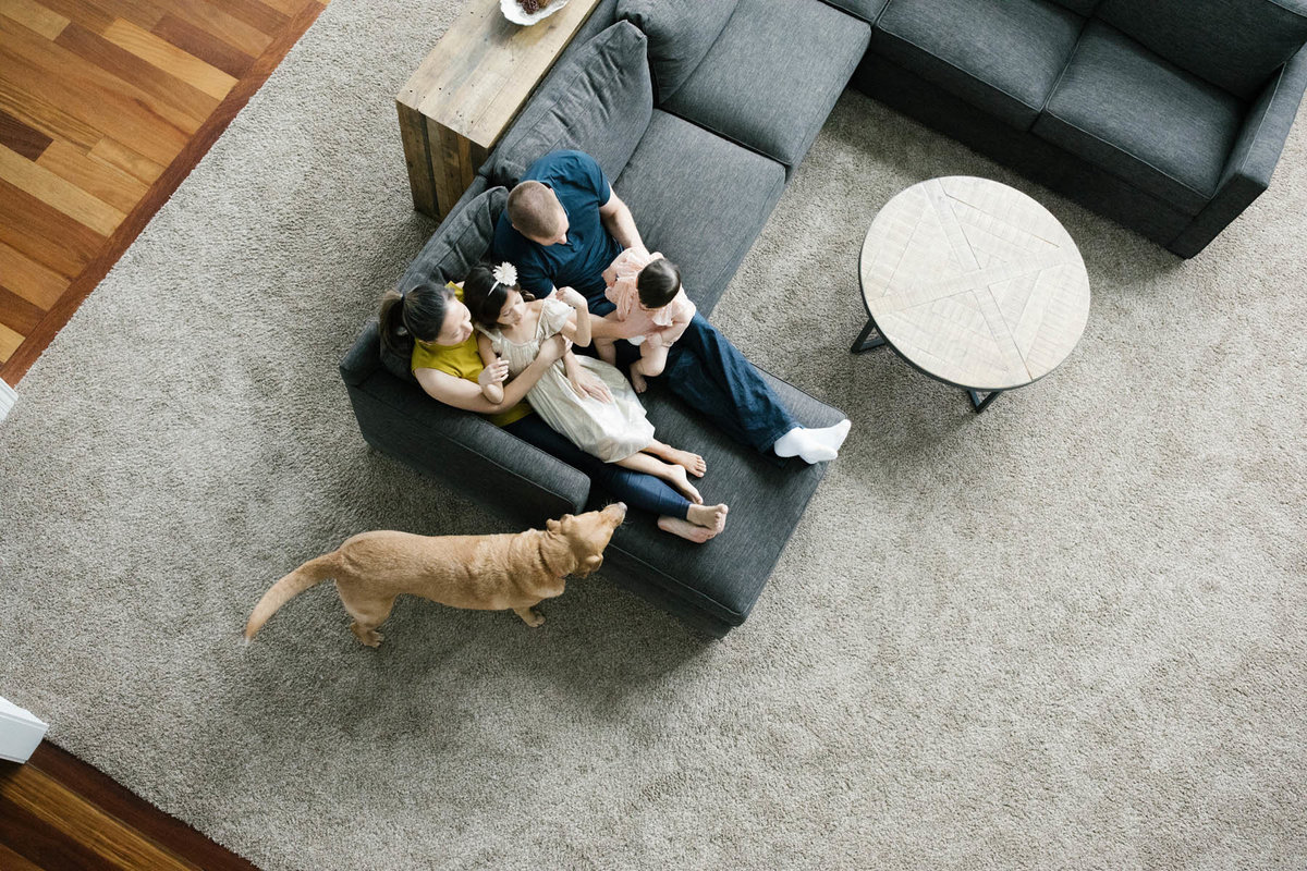 Family of four and puppy during lifestyle family session