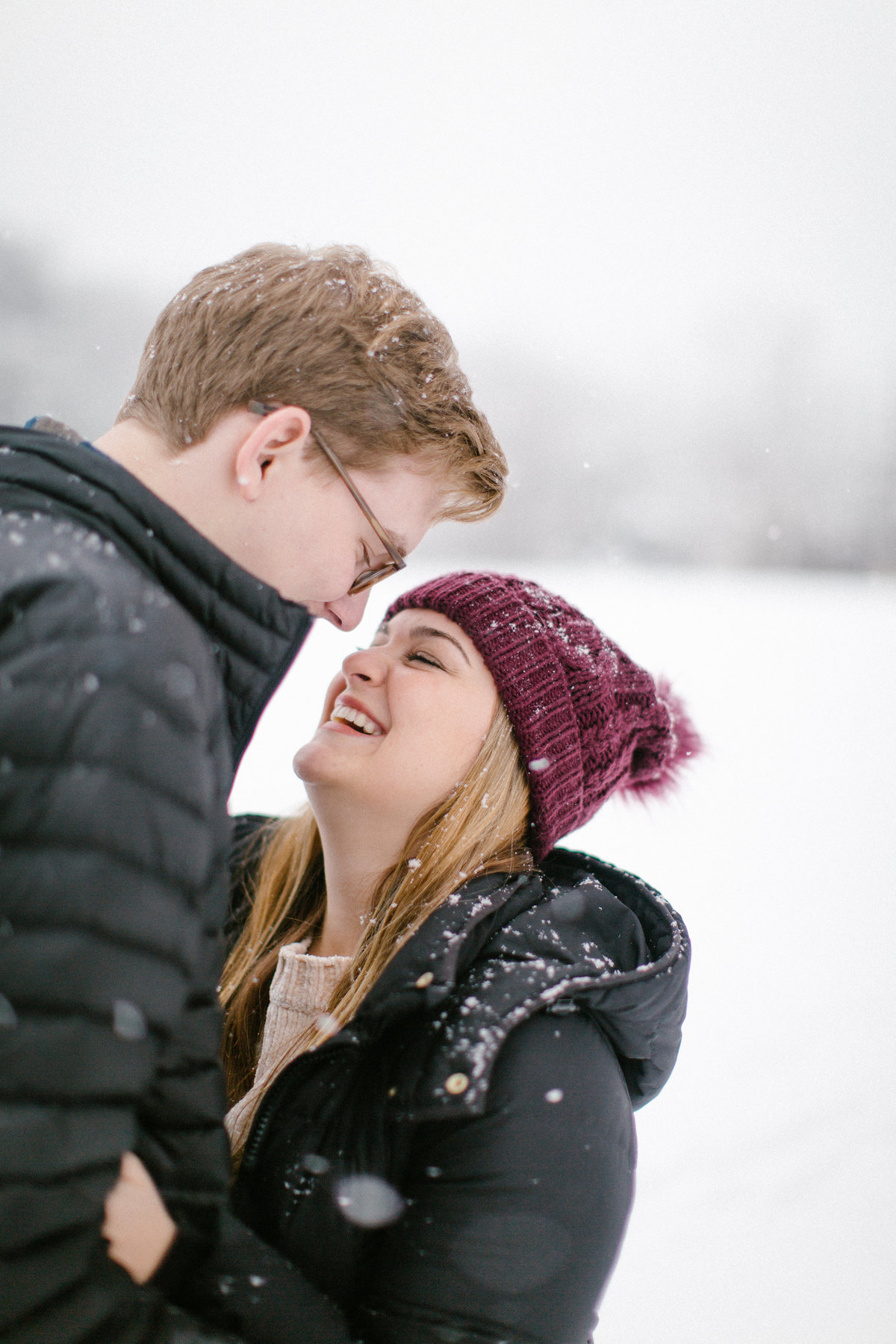 CouplesPORTFOLIO -2018-03-12 Cass and Steven in Snow 0052