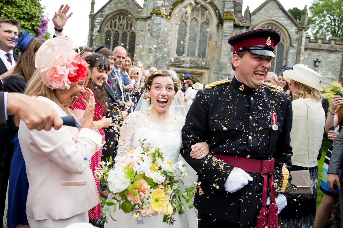 best wedding confetti photo devon army wedding