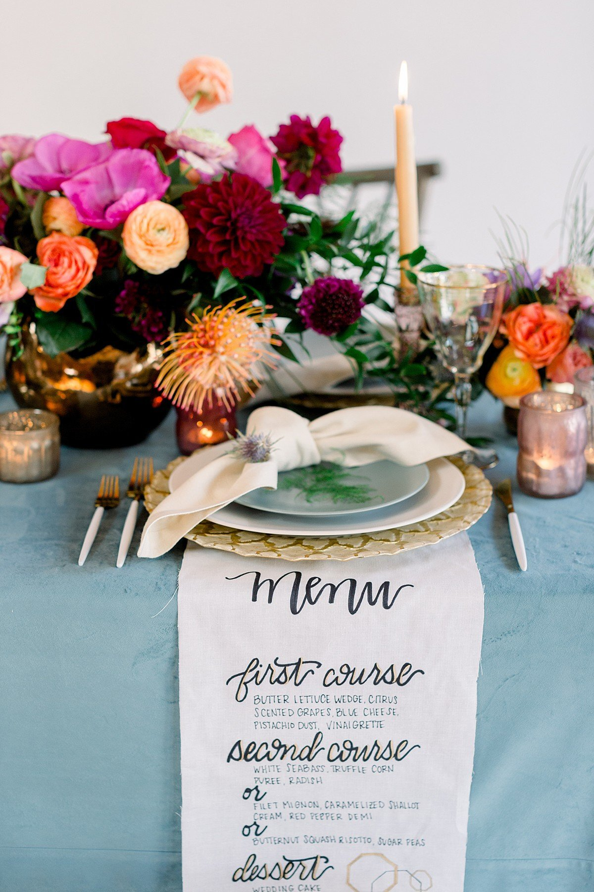 Casino San Clemente wedding photography. Luxurious tablescape and calligraphy wedding menu.