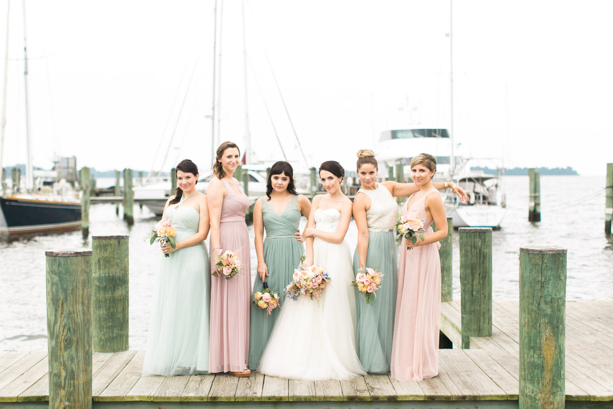 Sassy Bridesmaids on the docks of Annapolis Maritime Museum wedding