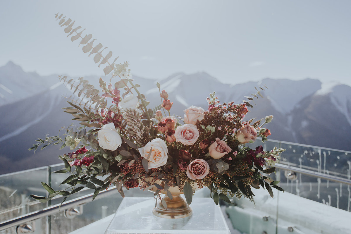 best location for stunning backdrop for Rocky Mountain Wedding at top of Sulphur Mountain at Banff Gondola