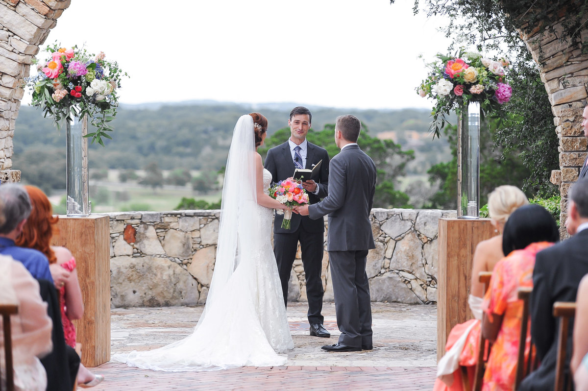Colorful and Cheerful Hill Country Wedding Outdoor Ceremony (281)