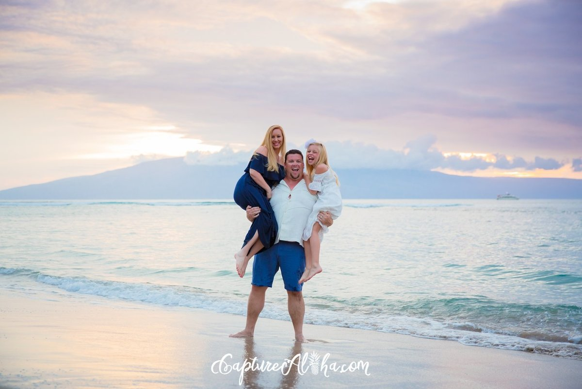 Maui Family Photography at Baby Beach at Sunset