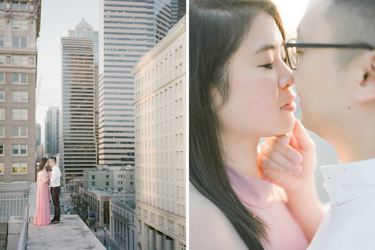 seattle engagement - film photographer - rooftop - tetiana photography - pioneer square engagement session