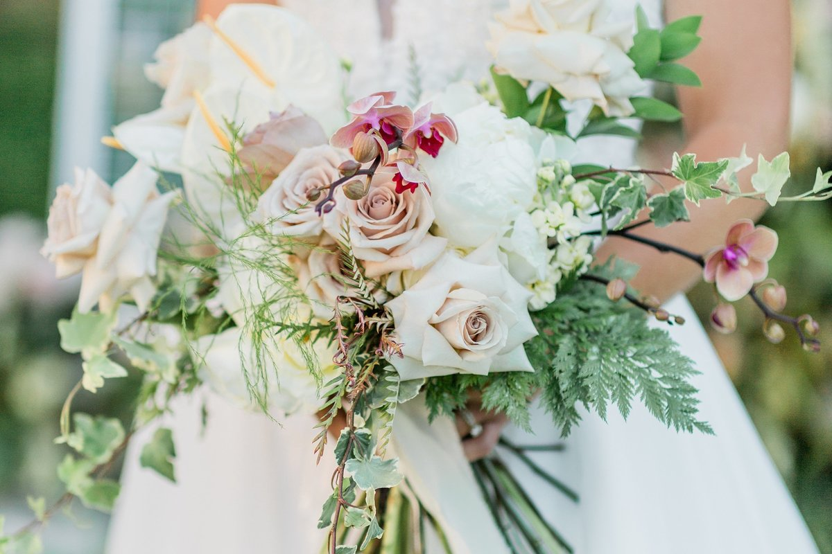romantic blush and green wedding bouquet