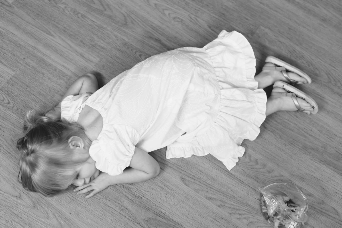 Oahu, Hawaii Fresh 48 Photographer – Fresh 48 Photography - Brooke Flanagan Photography - Little girl laying on floor