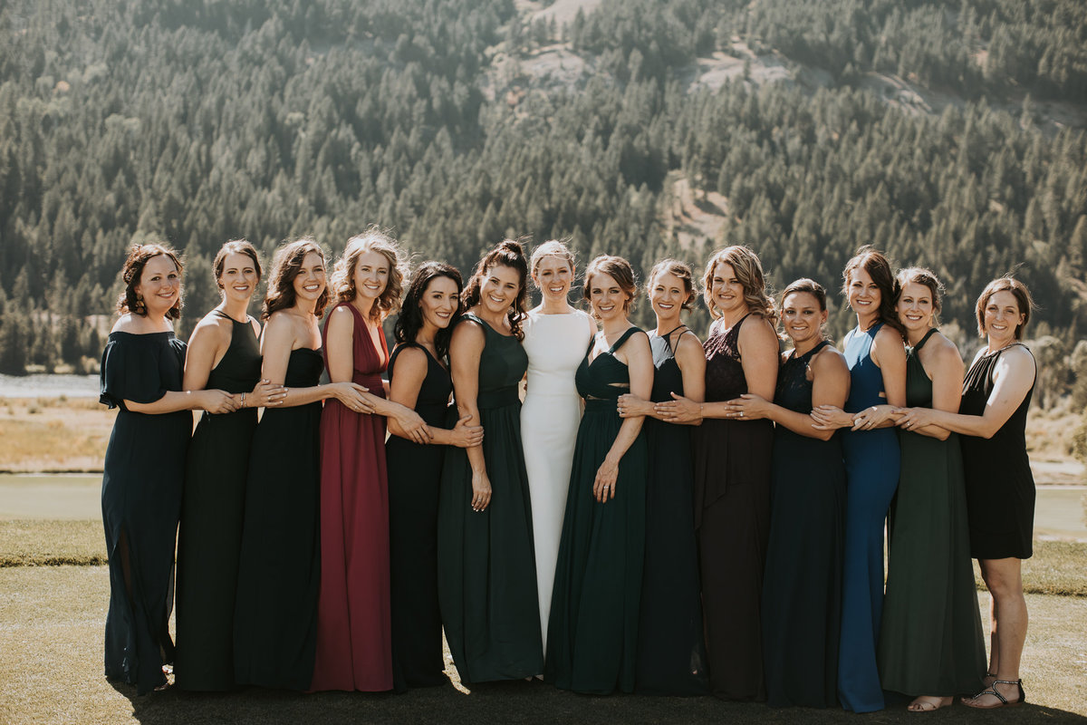 Bridal party in Montana wedding