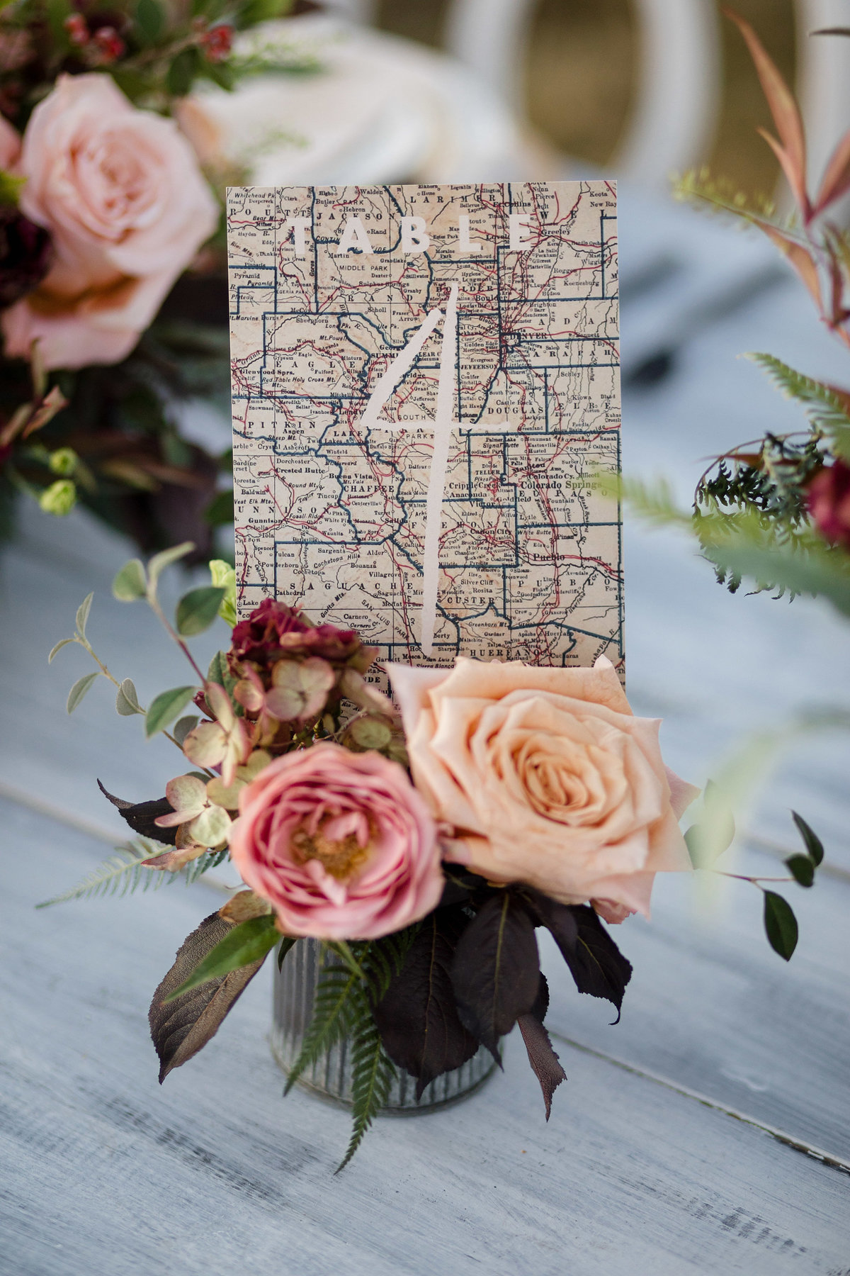 Everett Ranch Weddings  Lucky Onion Stationery Stationary Table Card Vintage Map Salida Colorado Flowers Collegiate Peaks Rustic Ranch Mountain Wedding 015