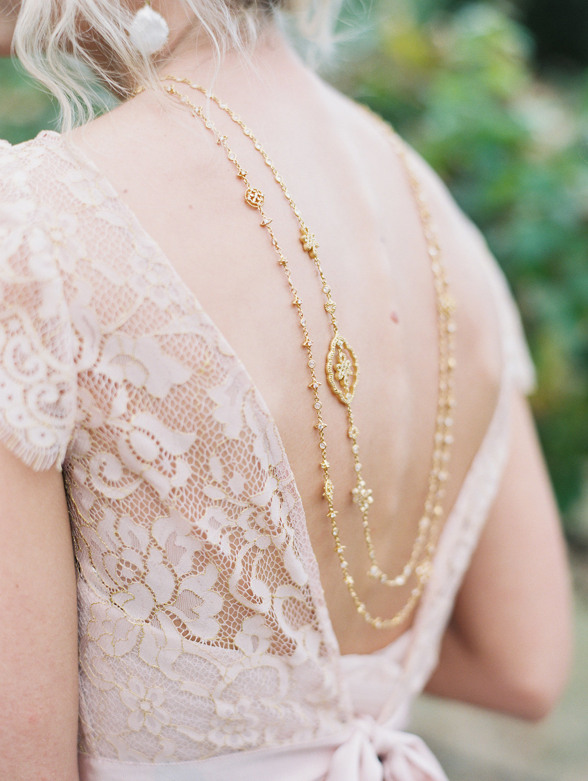 blush boho wedding dress back gold necklace