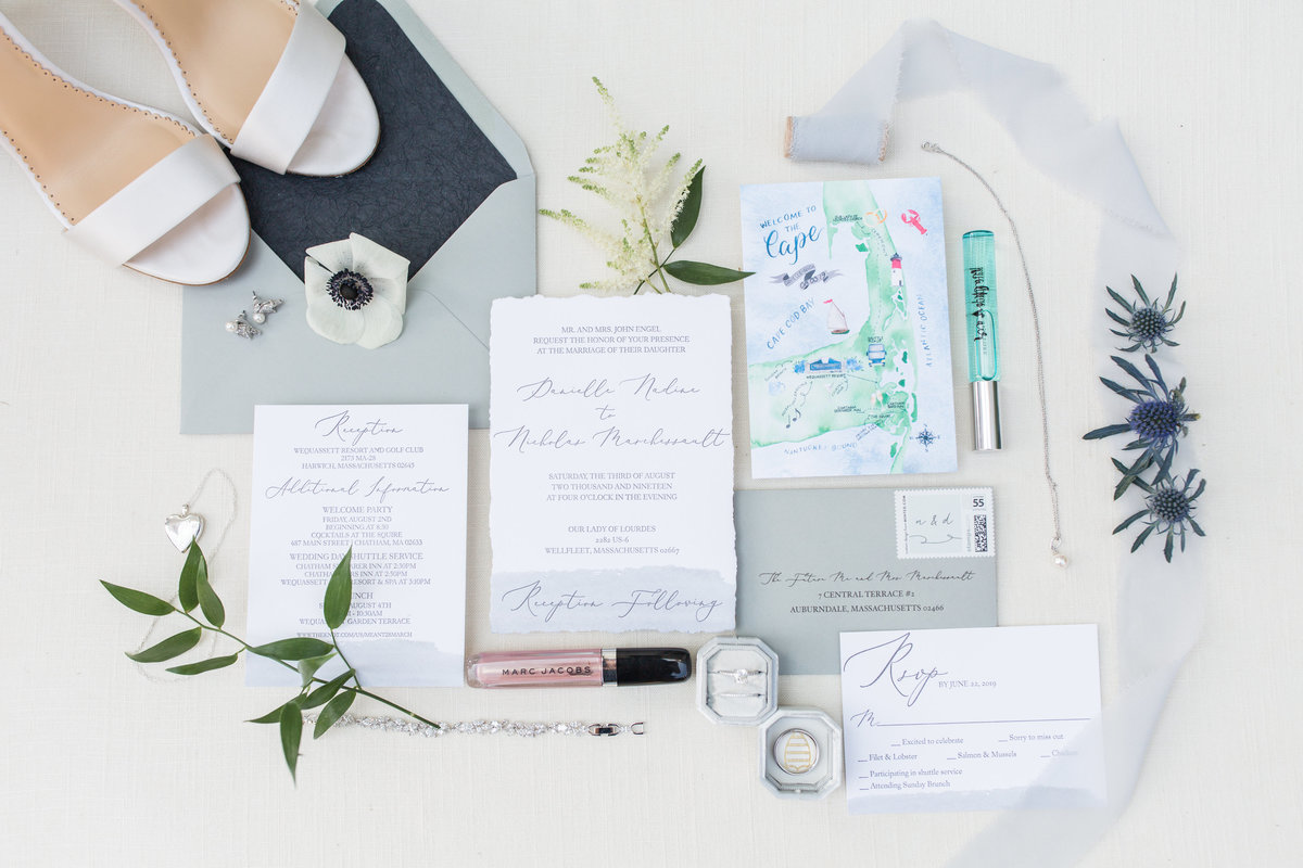 invitation suite flat lay