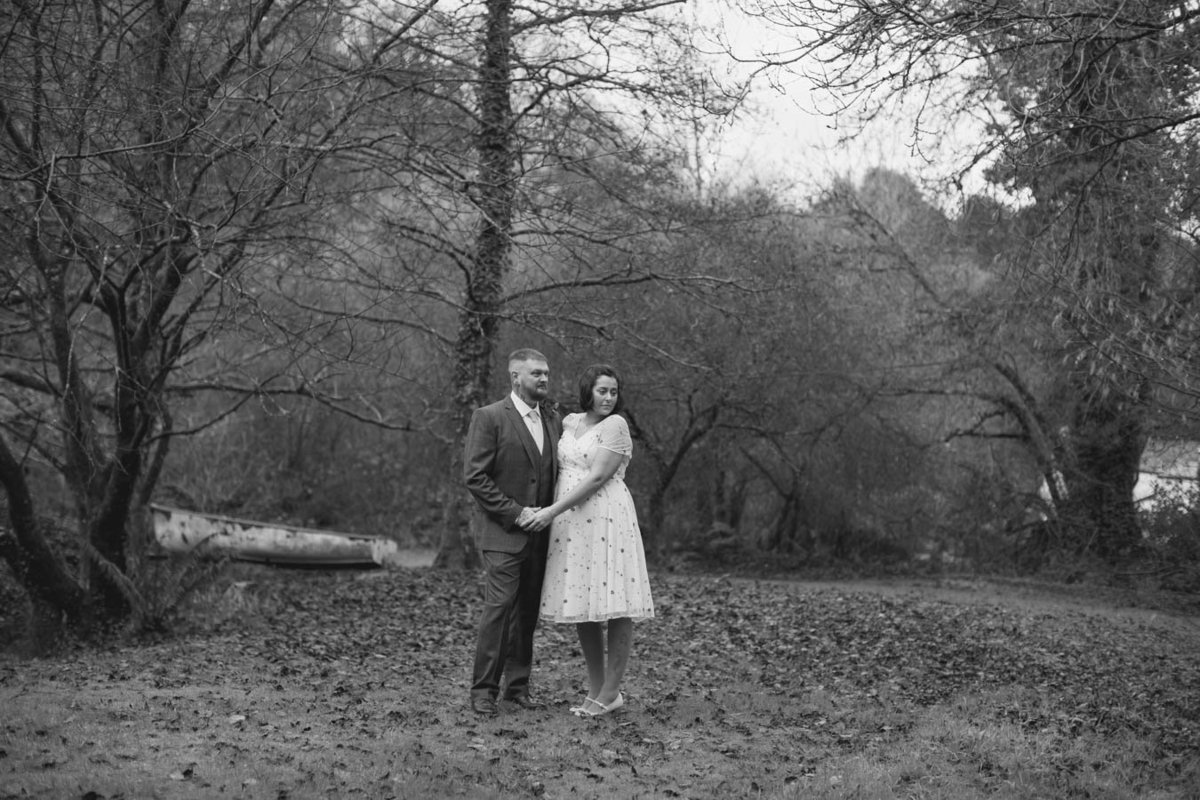 Black and white of elopement wedding at The Green in Cornwall