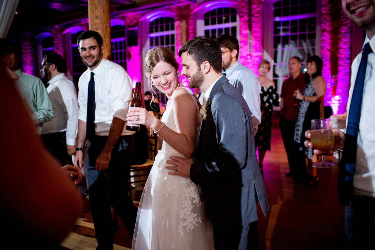 Wedding reception and dance party at The Cotton Room in Durham, NC