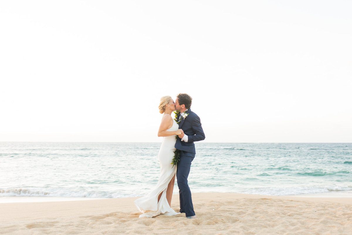 maui beach wedding photography - kiss