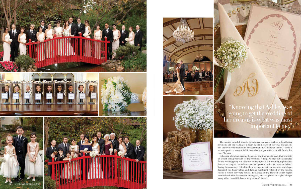 What an incredible honor to have Ashley Hebert and J.P.'s wedding featured not only in People magazine... and now Inside Weddings Summer 2013 issue. Ashley & J.P. are so sweet and just a beautiful couple. Their beautiful wedding at The Langham Huntington in Pasadena, California was planned by Celebrity event planner Mindy Weiss and her team did an amazing job bringing this wedding to fruition. Thank you Walt and Art at Inside Weddings for featuring another one of our beautiful weddings! For brides looking for inspiration, this is the magazine to buy! Click here for a list of vendors.