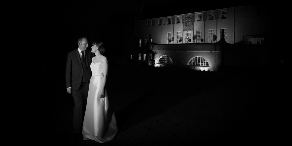 Nightime bridal portrait in front of House for an Art lover in Glasgow