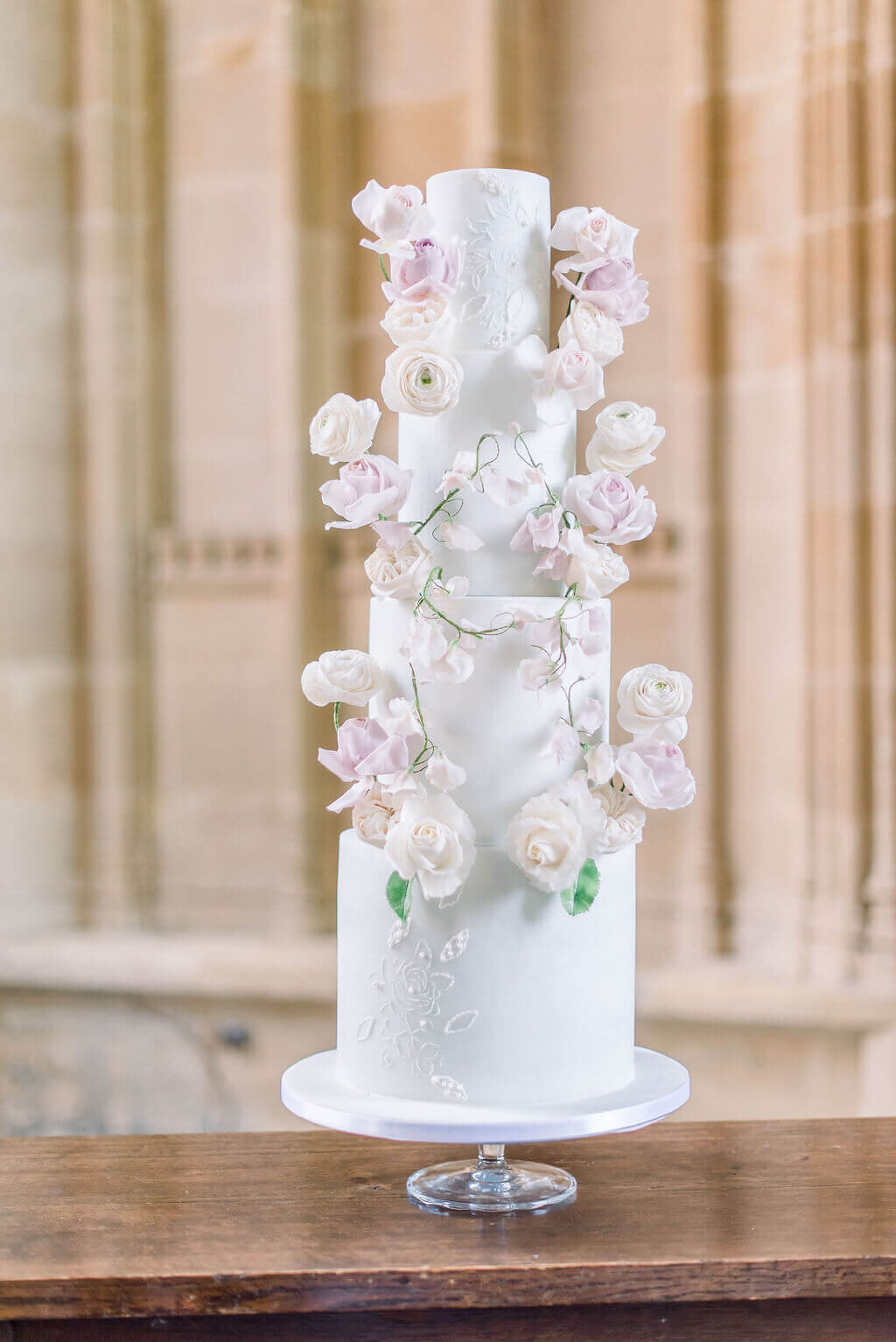 Pastel 4 tier summer floral wedding cake | MonAnnie
