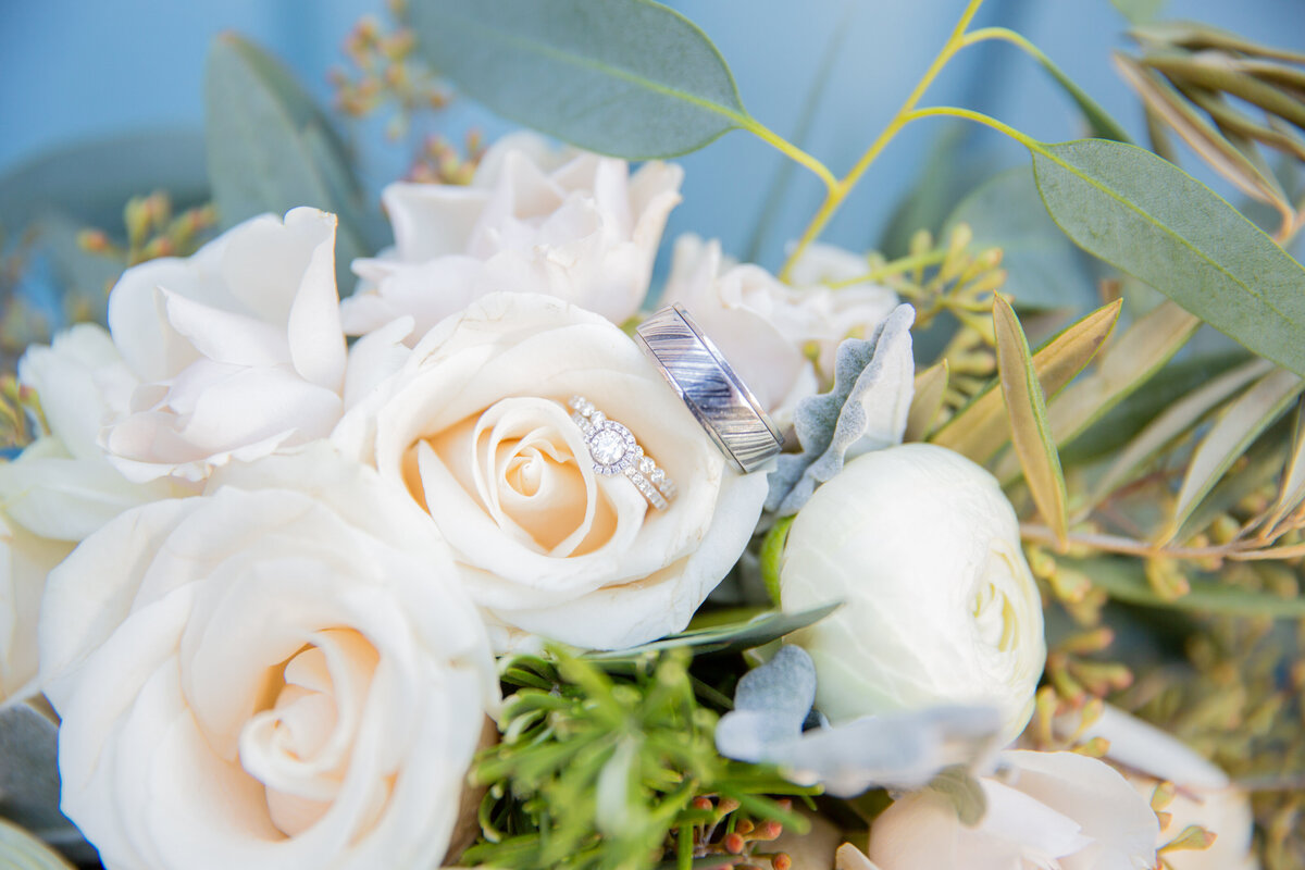 Wedding Rings Nestled in the Bride's Bouquet
