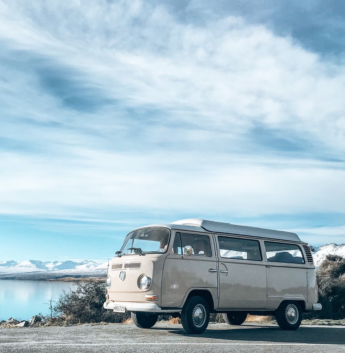 Esther, kombi van from NZ Kombi Hire beside Lake Tekapo, South Island, New Zealand