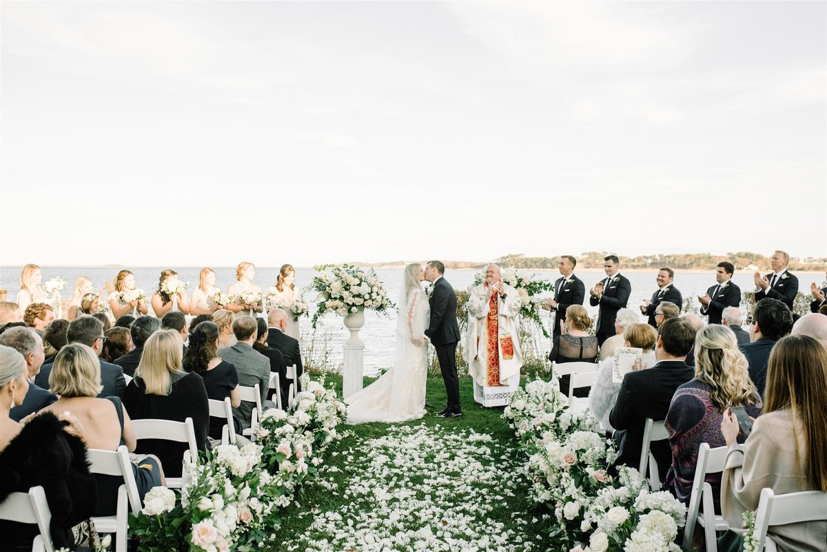 rose petal aisle for coastal ceremony for a Cape Cod Wedding by luxury Cape Cod wedding planner and designer Always Yours Events