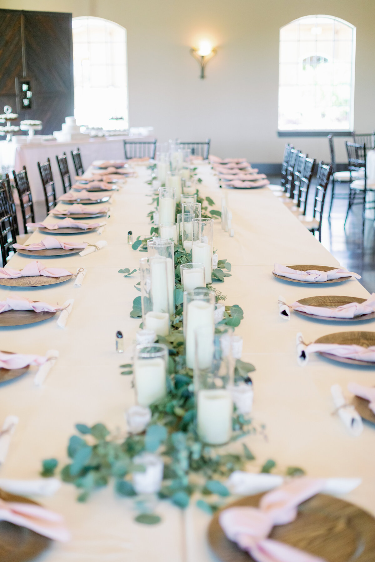 Long Reception Table Decor with Candles and Greenery