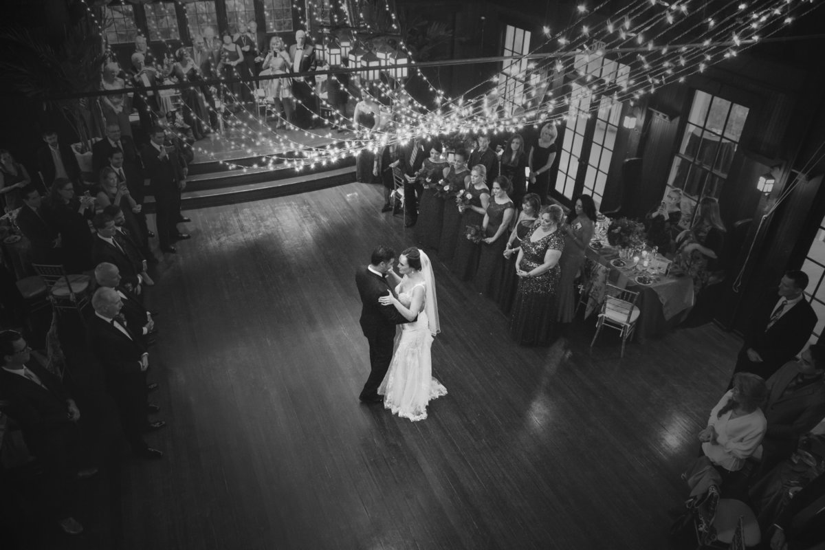 bride and groom first dance at the water witch club