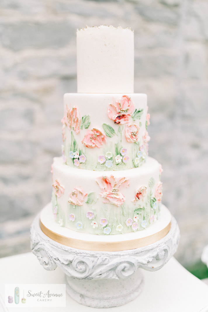 romantic wedding cake with  painted buttercream flowers at Ruthven Park