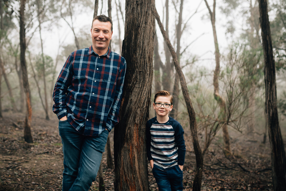 father and son leaning on tree outdoors natural family photography Melbourne And So I Don't Forget Photographer