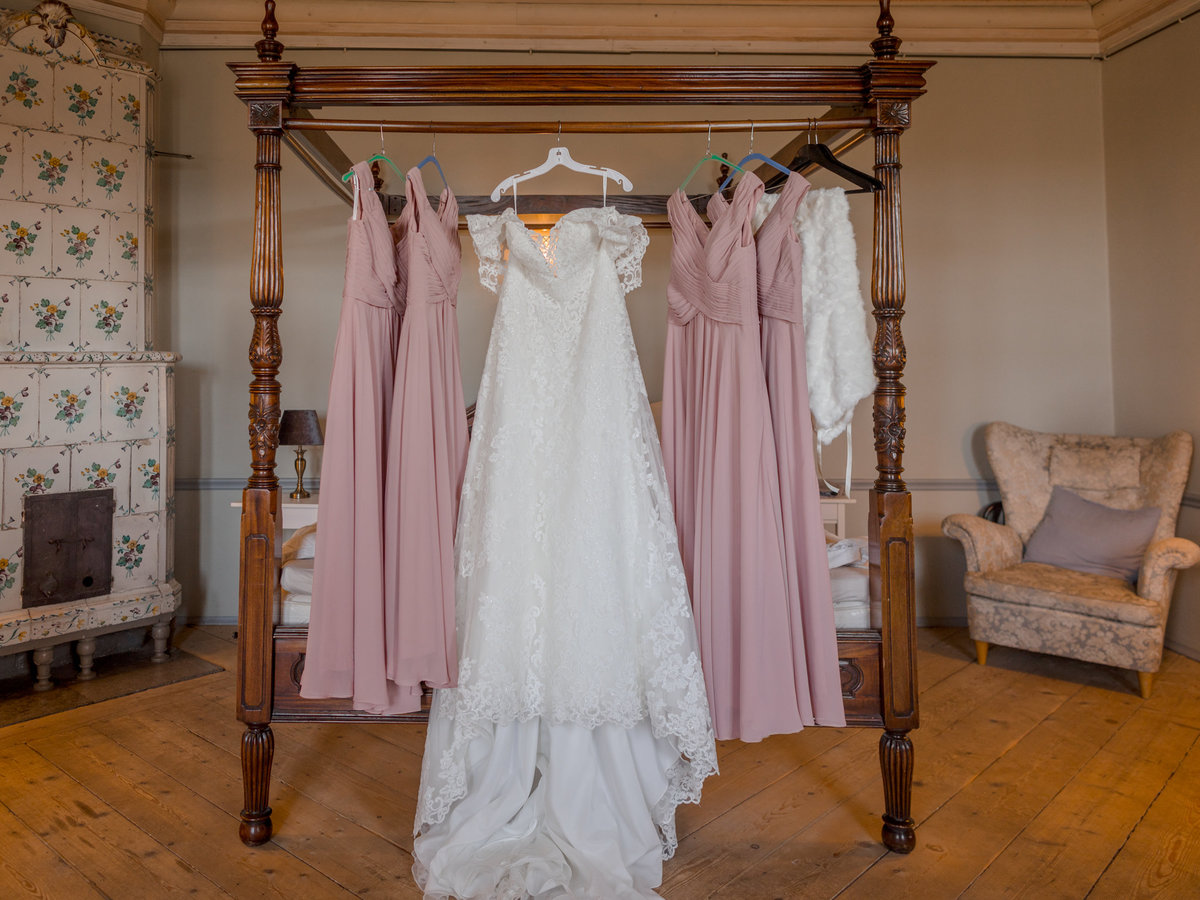 Close up of the dresses in a castle room
