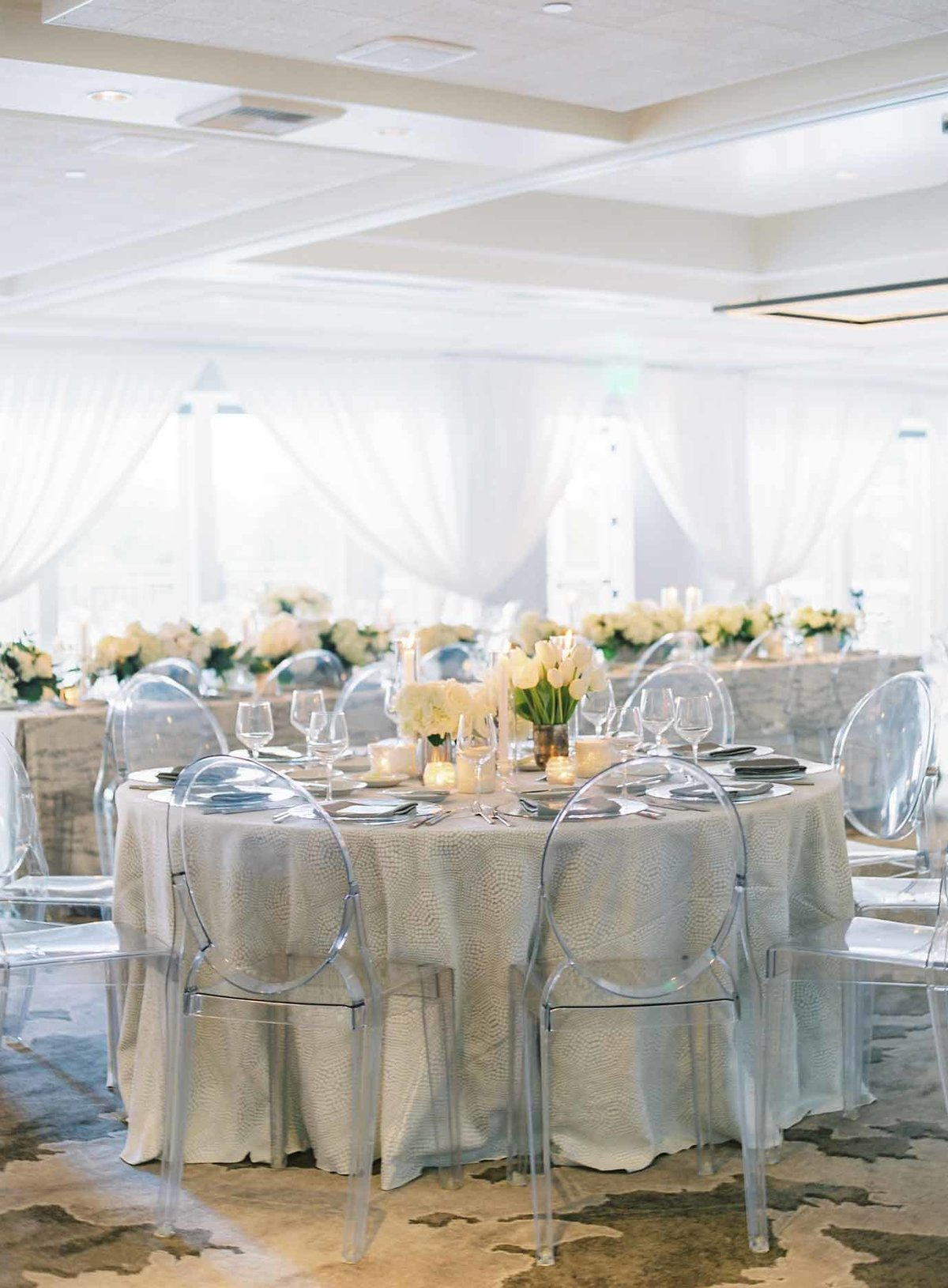 Elegant grey and white Wedding reception at Overlake golf and country club