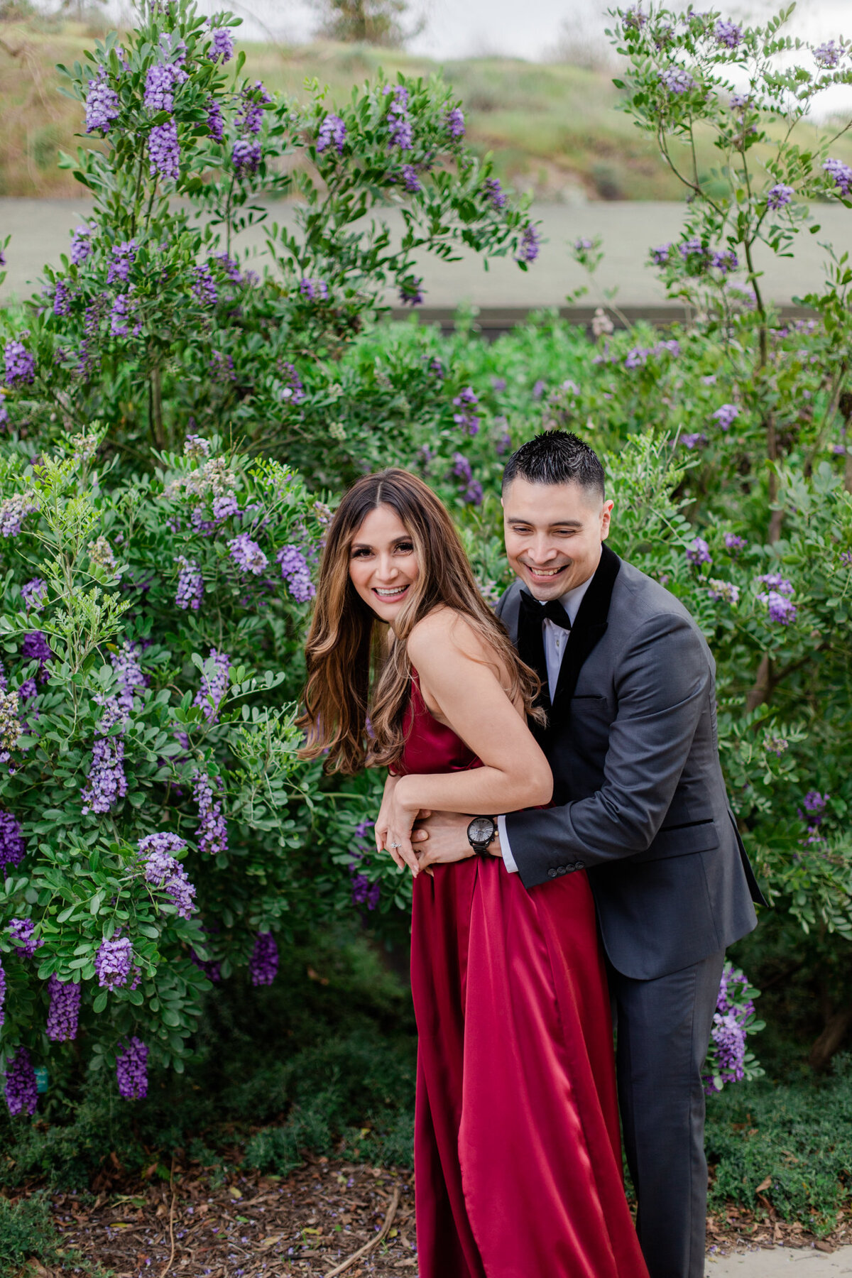 UC Riverside Botanical Gardens, Engagement Photography, Riverside Phototgrapher, Garden Engagement, Couple Photography, Red Dress-94