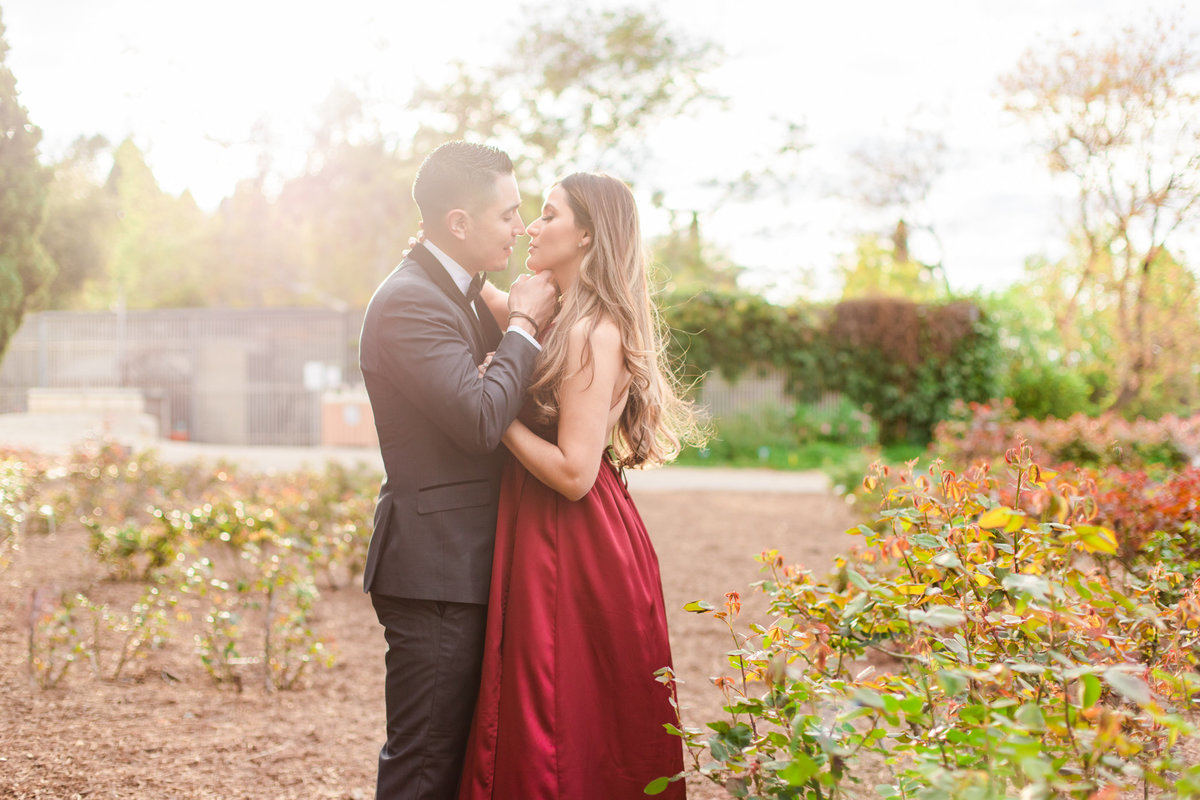 UC Riverside Botanical Gardens, Engagement Photography, Riverside Phototgrapher, Garden Engagement, Couple Photography, Red Dress-89