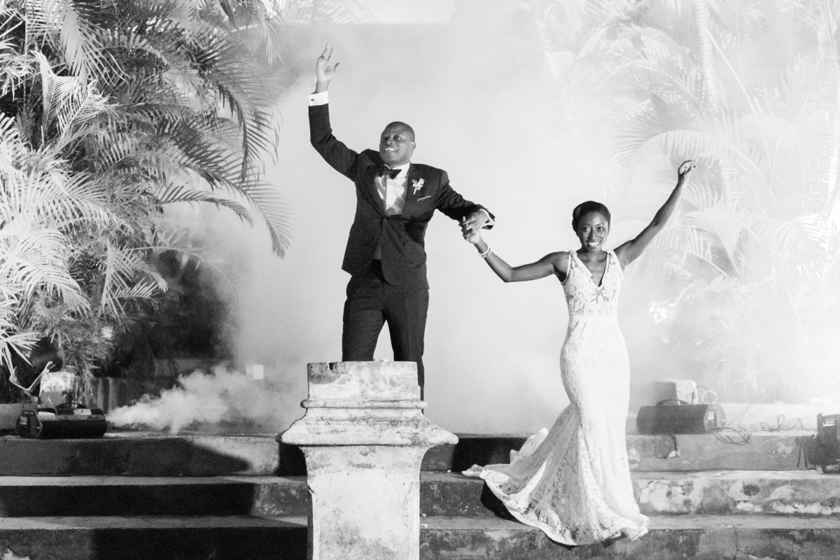 Bride and groom grand entrance at Barbados destination wedding
