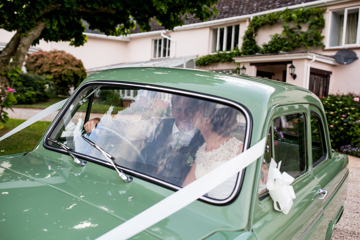 wedding car at upton barn