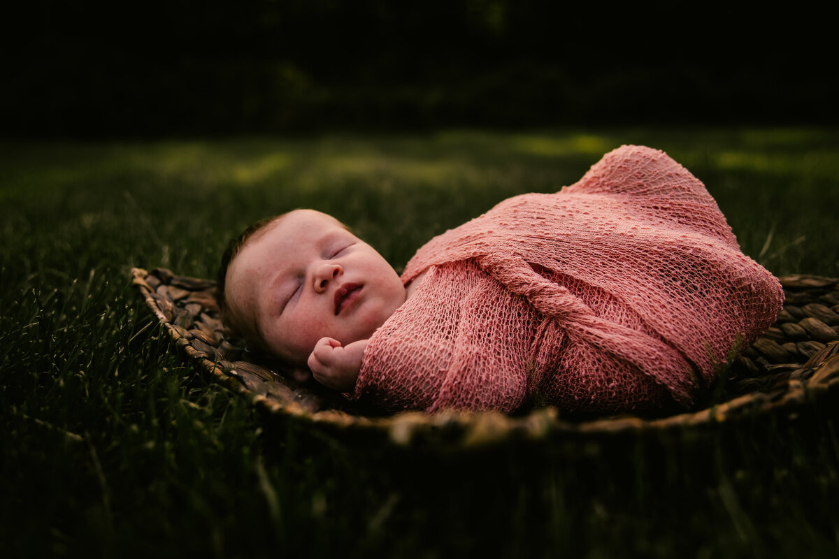 baby wrapped in pink laying on basket on the ground