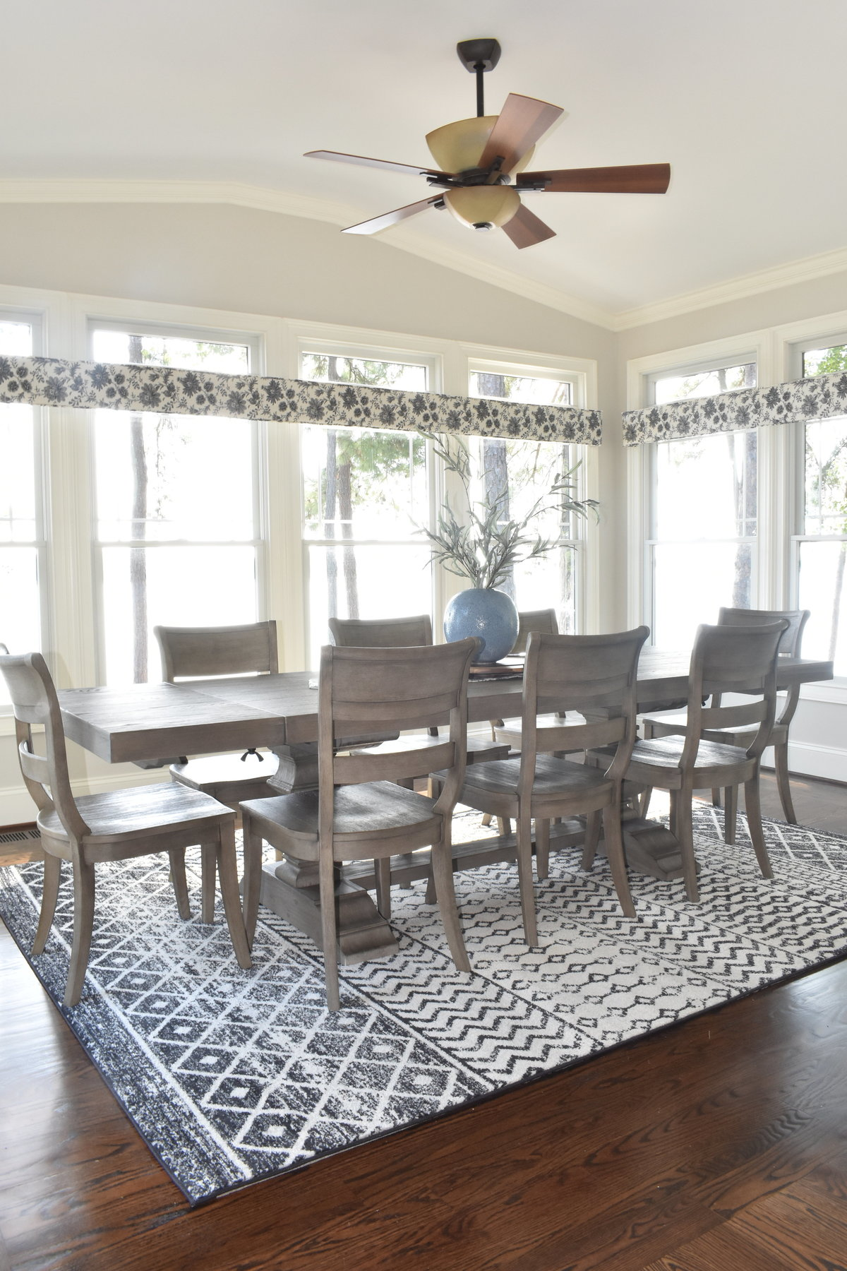 Farmhouse Dining Table with a view of Lake Norman