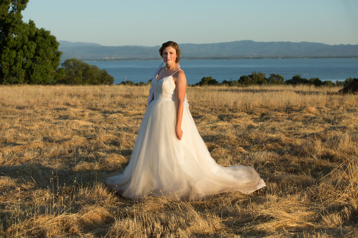 bride on the lake, bridal portrait on field