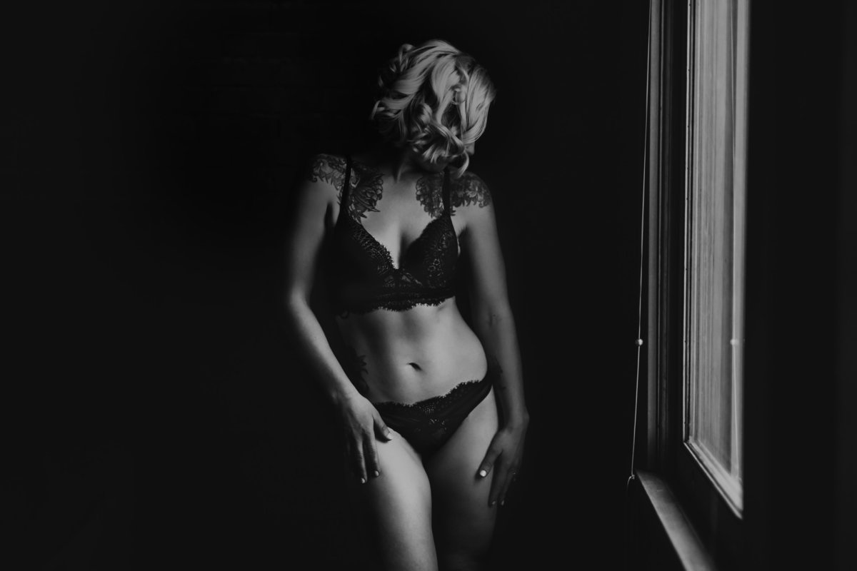 Black White Calgary Edmonton Boudoir Photography
