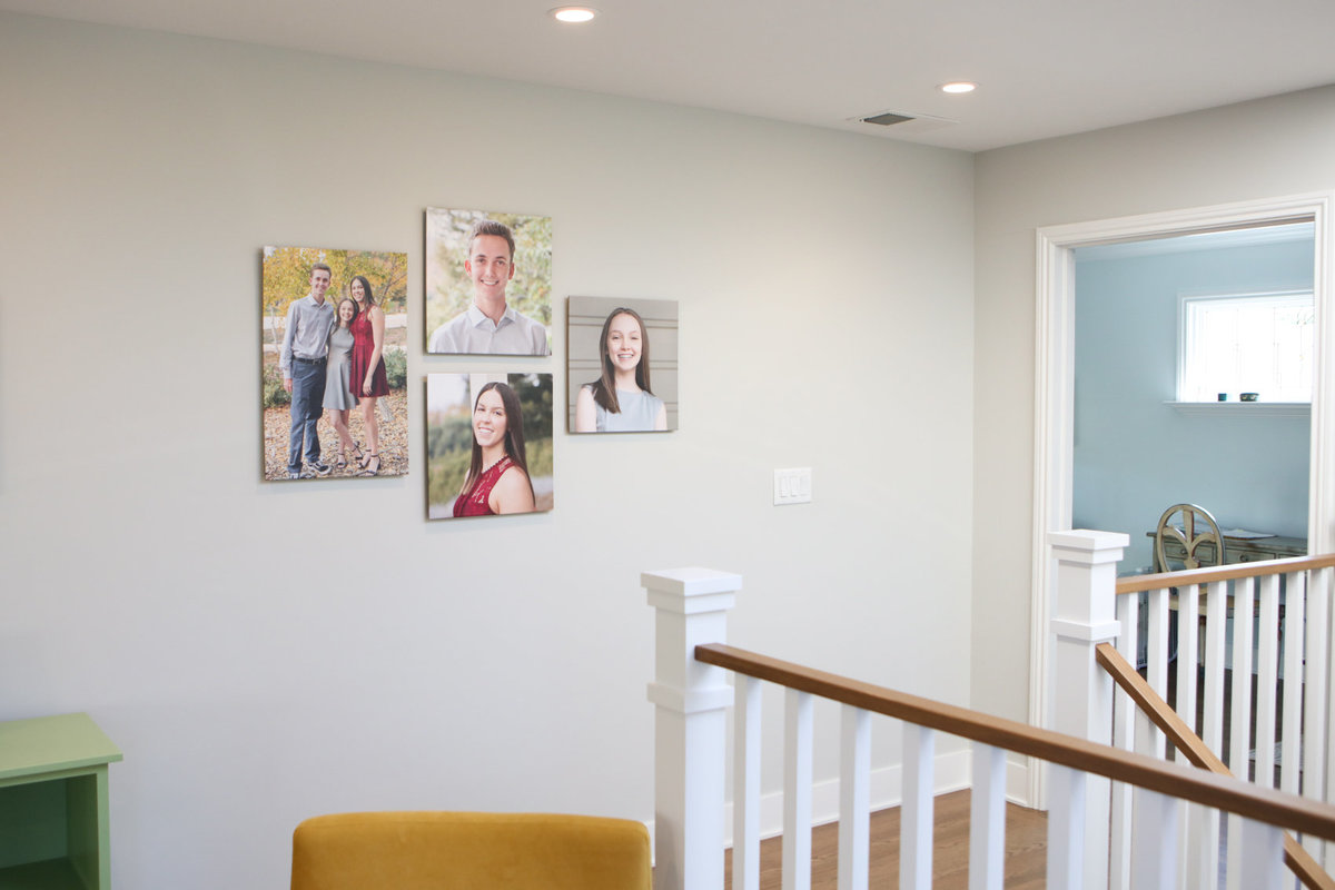 Installation, teenage siblings family portraits on canvas