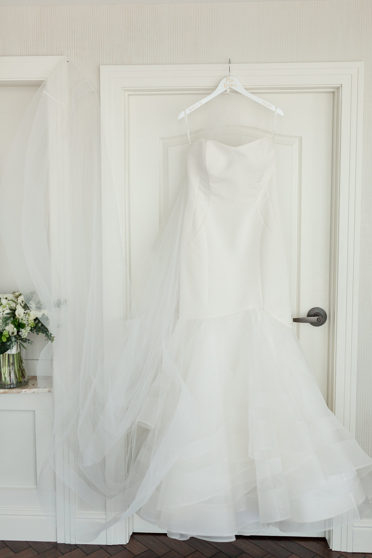bridal gown, wedding dress, hanging dress