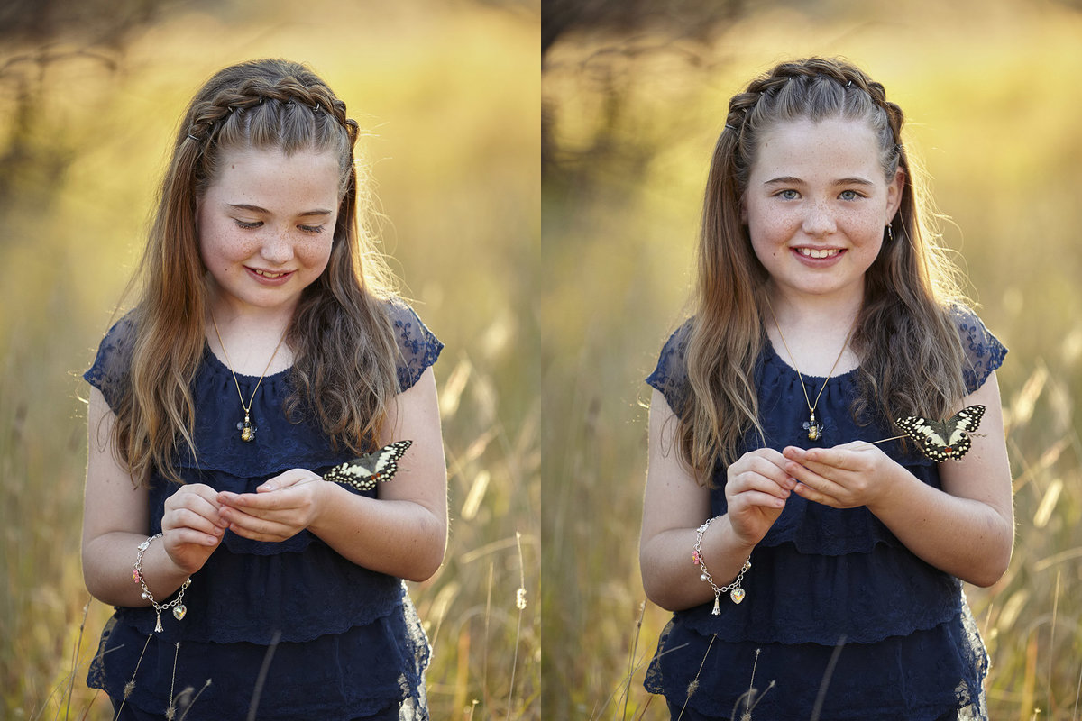 Two photos of a young girl with a butterfly on a stick looking at camera and butterfly, with golden sunlight