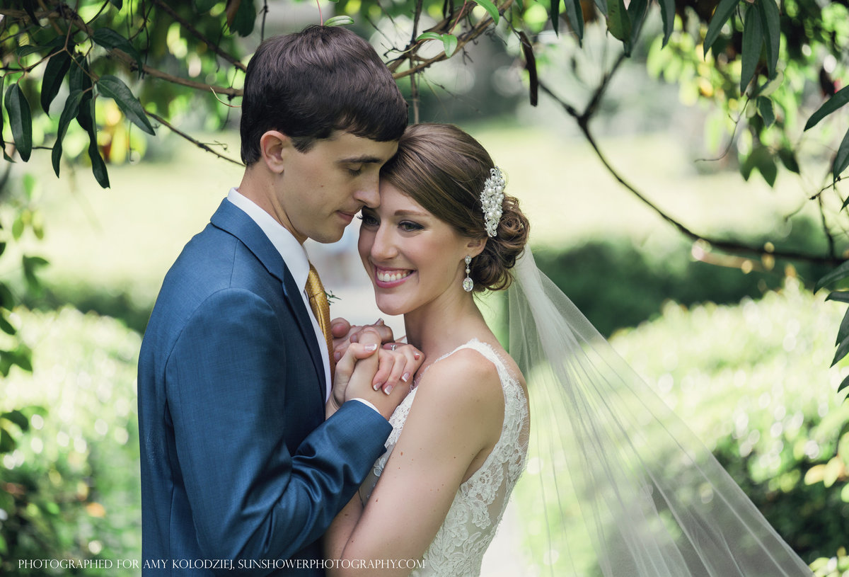 charlotte wedding photographer jamie lucido creates a beautiful portrait of a bride and groom outdoors