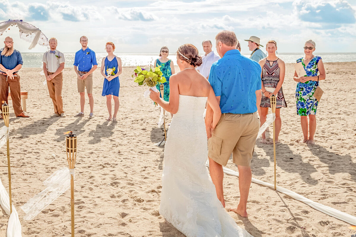 Bald Head Island NC Wedding Photography - Anna and Ray - Bride and Father Entrance Back - Wilmington Photographer Team